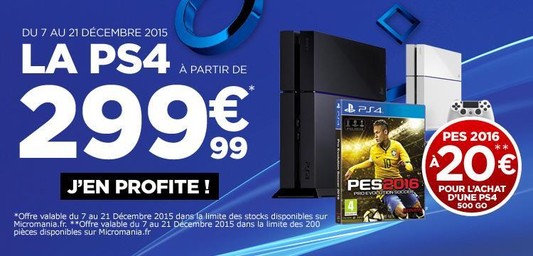 Console Sony PS4 500 Go + Jeu PES 2016
