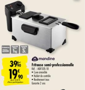 Friteuse semie-professionnelle Mandine - 2200W
