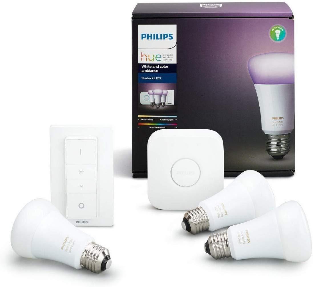 Kit de démarrage Philips Hue - 3 Ampoules White&Color E27 + Pont + Interrupteur