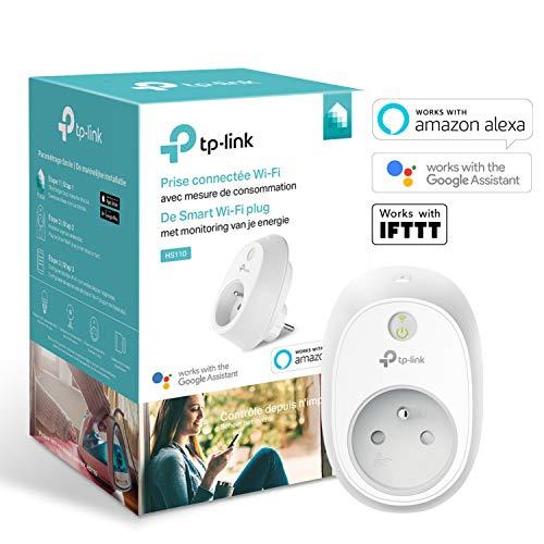 Prise Connectée TP-Link HS110(FR) WiFi compatible Amazon Alexa, Google Assistant & IFTTT avec Mesure de Consommation