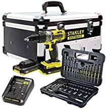 Perceuse Visseuse à Percussion Stanley FMCK625D2F-QW 18V + 50 Accessoires + 2 Batteries + Chargeur + Boitier Aluminium