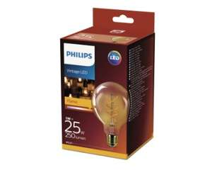 Ampoule LED globe Philips Vintage Led - 5W (25W), E27 (Via 6.95€ sur la carte fidélité)