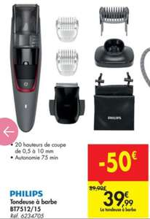 Tondeuse Philips BT7512/15 (Frontaliers Belgique)
