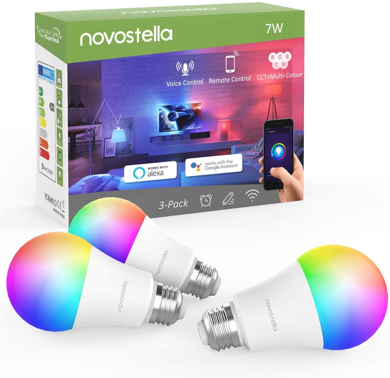 Lot de 3 Ampoules connectées Novostella - E27, RGBCW, 7W, 600LM, 2700-6500K (Compatible Alexa, Google Home & IFTTT) - Vendeur tiers