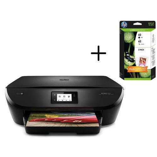 Imprimante Multifonction HP Envy 5542 (jet d'encre, couleur, Wifi) + Pack de 2 cartouches HP62 (ODR de 40€)