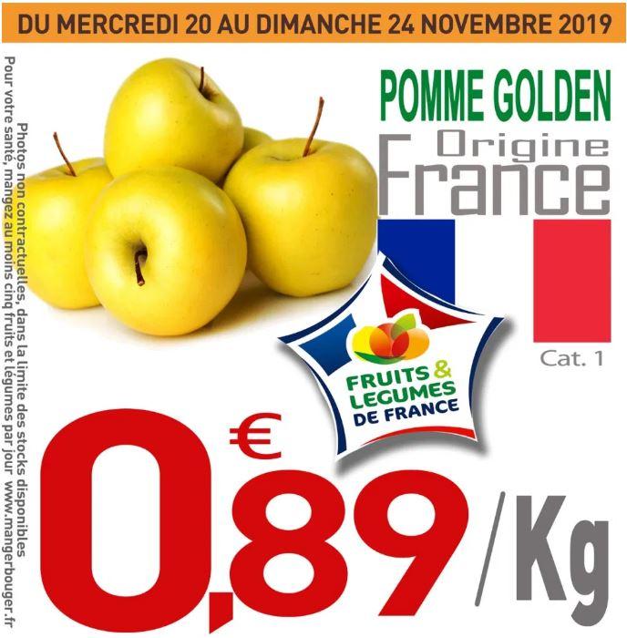 Pommes Golden Catégorie 1 (Origine France) - 1 kg