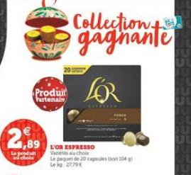 Boite de 20 capsules L'Or Espresso