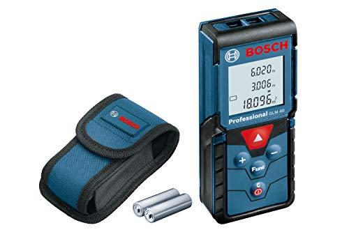 Télémètre laser Bosch Professional GLM 40 (plage de mesure de 0,15 à 40 m, 2x1,5 V LR03, piles AAA, sac de protection)