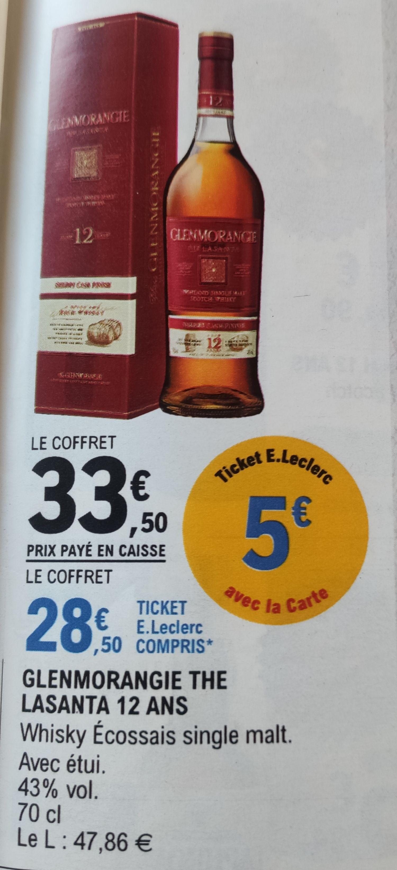 Sélection d'articles en promotion - Ex: Bourbon Glenmorangie the Lasanta 12 ans (via 5€ sur la carte fidélité)