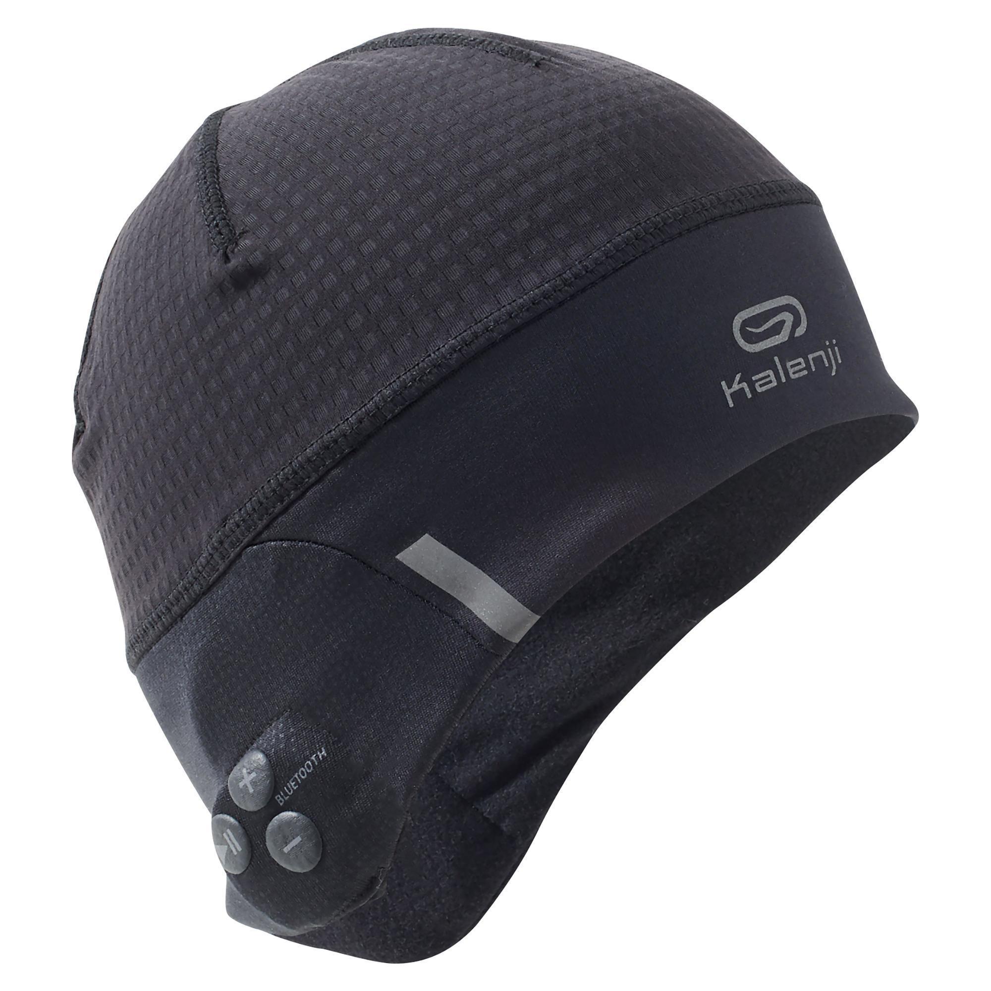Bonnet de running Kalenji - avec écouteurs Bluetooth intégrés, 55-58 cm, noir