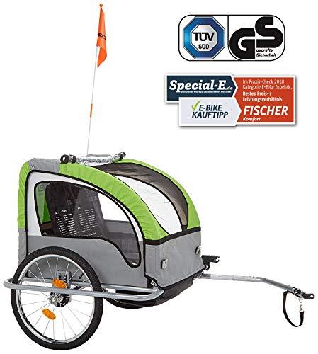 Remorque de vélo pour Enfants Suspension certifié TÜV/GS Fischer 86388 - Vert
