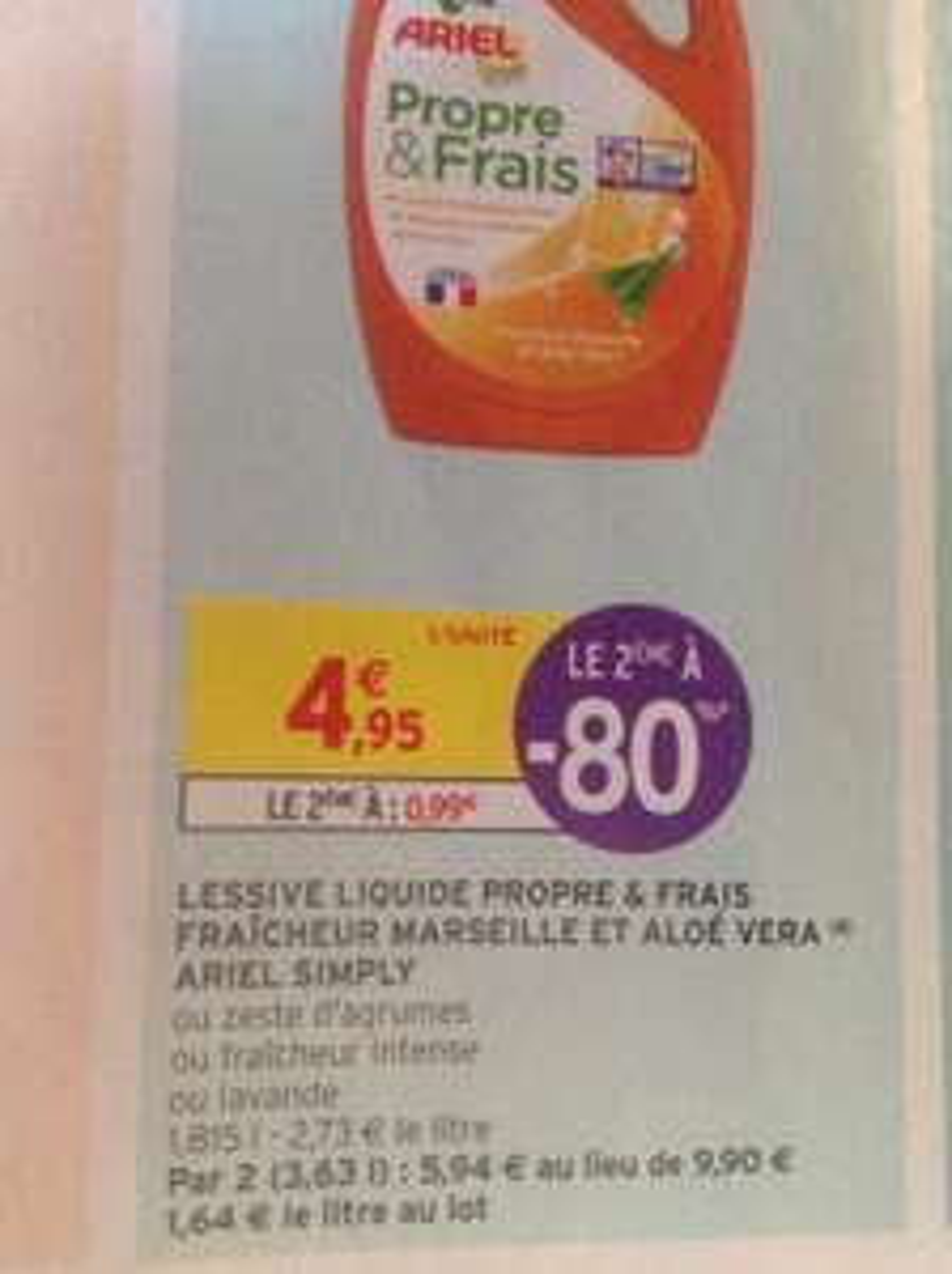 2 bidons de lessive Ariel Simply Propre & Frais - 1.8L