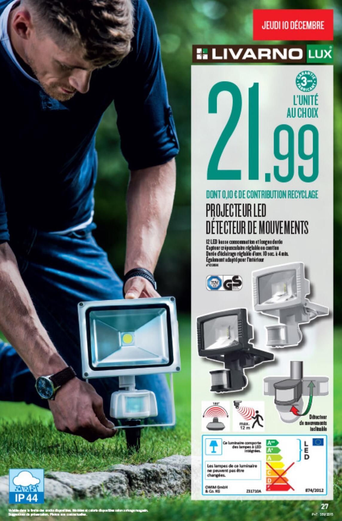 Projecteur LED détecteur de mouvements