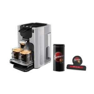 Machine à café Philips Quadrante HD7866/11 + Boîte de rangement dosettes + Pince fraîcheur - Gris clair
