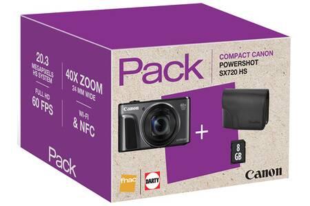 Pack appareil photo numérique Canon Powershot SX720 HS (20.3 Mpix, CMOS) + carte SD (8 Go) + housse (179.99€ via WELCOME19) - vendeur Darty