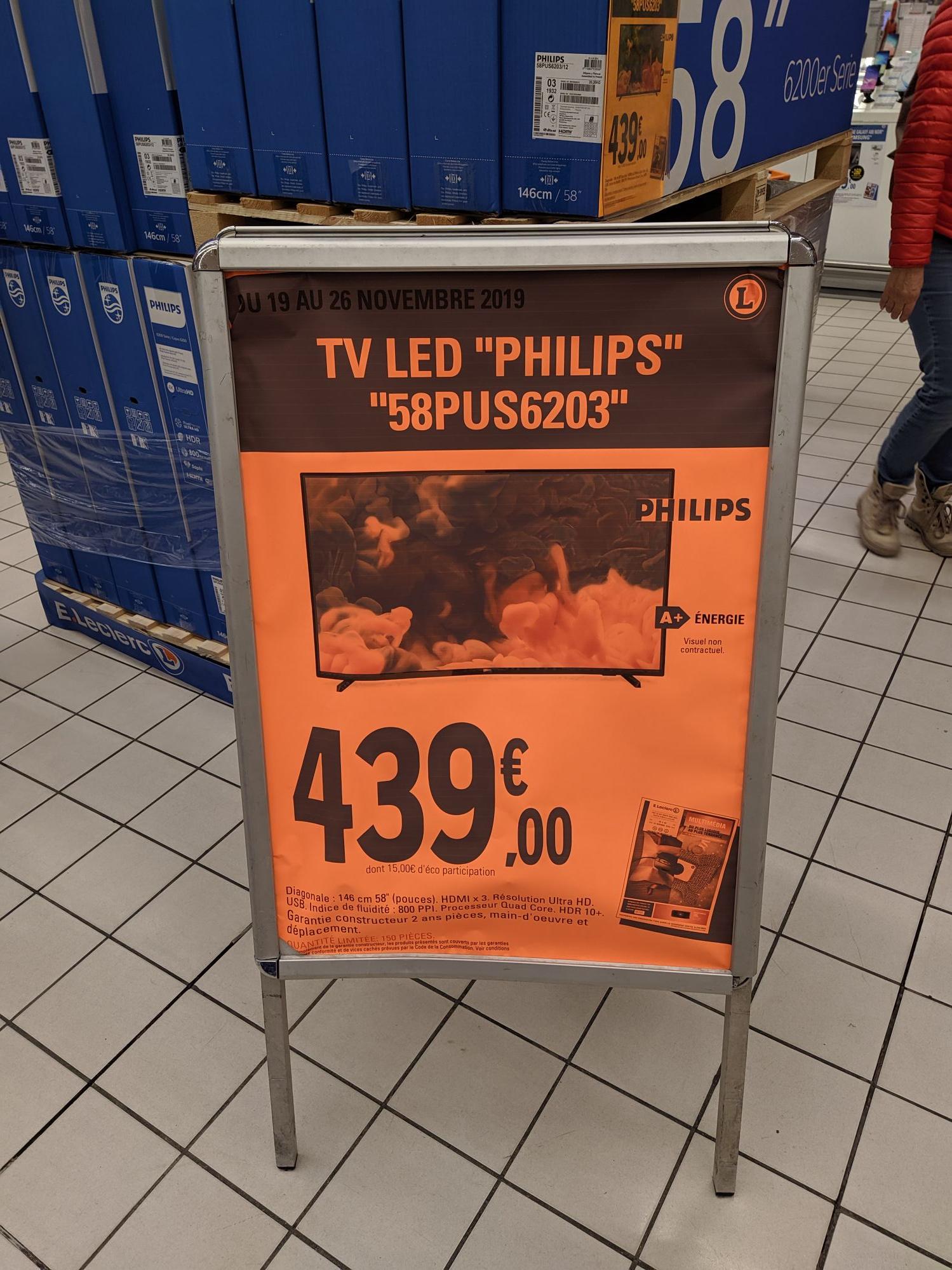 "TV 58"" Philips 58PUS6203 - 4K UHD, HDR10, Smart TV (Saphi) - Bonneuil (94)"