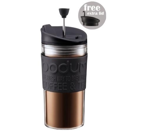 Mug isotherme Bodum Travel Press - 35 cl, 2 couvercles (Piston & Clapet)