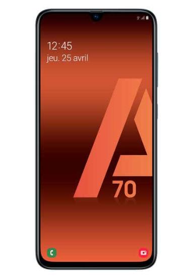 """Smartphone 6.7"""" Samsung Galaxy A70 - Full HD+, SnapDragon 675, 6 Go RAM, 128 Go, Noir"""