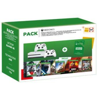 Pack Console Xbox One S + Star Wars Jedi Fallen Order Deluxe + Forza Horizon 4 + RDR2 + GTA V Premium + Gears 5 + 2ème Manette + Gold 3 Mois