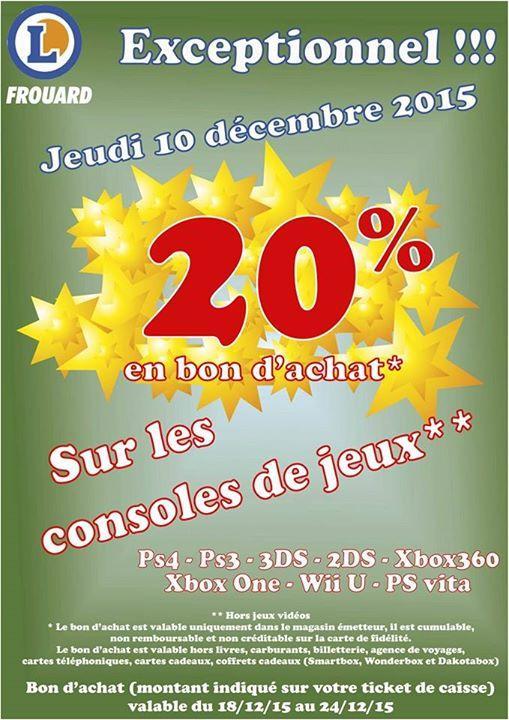 20% offerts en bon d'achat sur les consoles (exemple: PS4 500 Go à 240€)