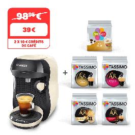 Machine à café Tassimo Happy Cream + 5 Packs de Boissons + 2 Bon d'achat de 10€