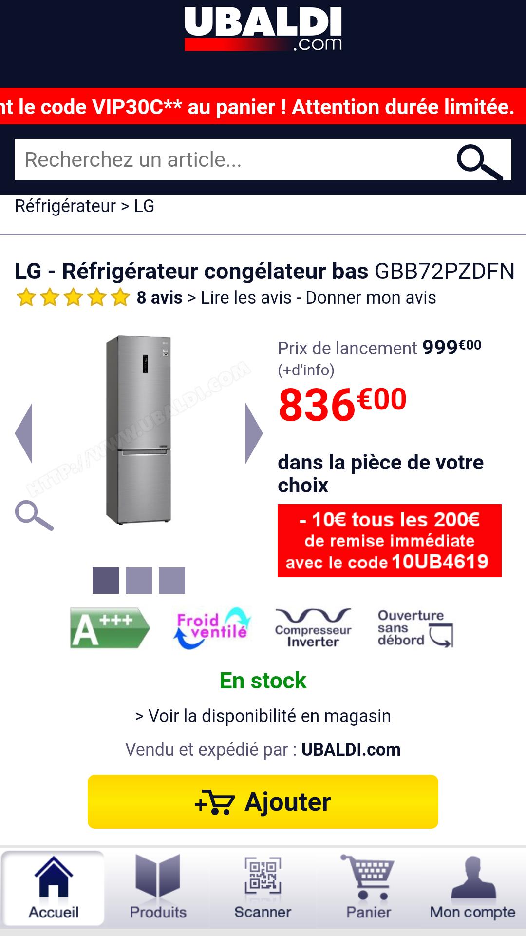 LG - Réfrigérateur congélateur basGBB72PZDFN+ -10€ tous les 100€ d'achat avec le code promo