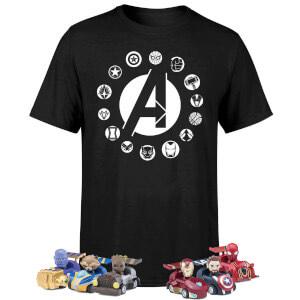 1 T-Shirt Avengers + 6 petites voitures et 6 stylos Beast Kingdom