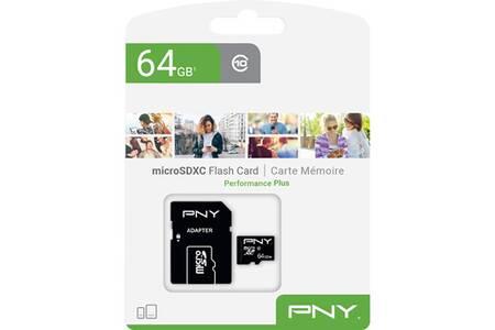 Carte MicroSDXC PNY performance Plus - 64 Go + Adaptateur SD