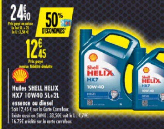 Huile Moteur Shell Helix 10W40 - 5L+2L (via 12.45€ sur la carte fidelité)