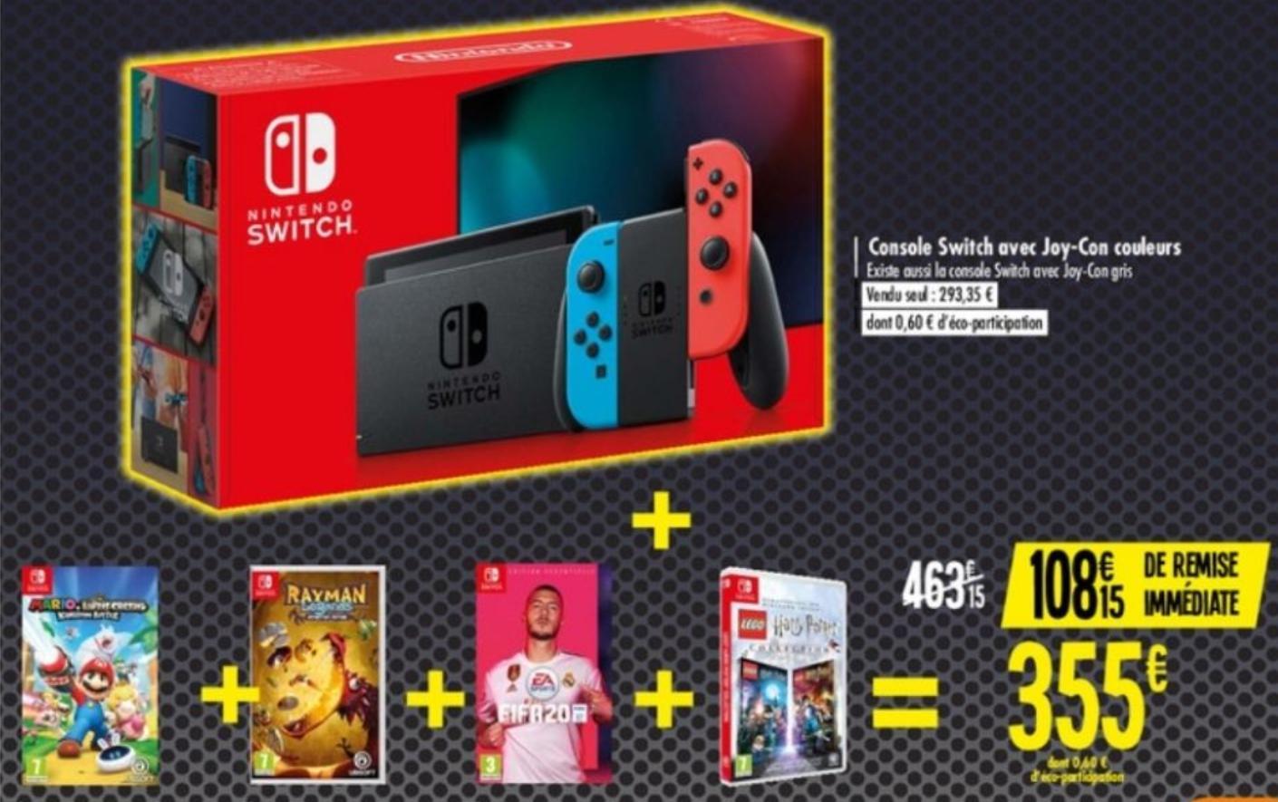 Console Nintendo Switch (2019) + Mario et les lapins crétins + Rayman Legend + Lego Harry Potter + FIFA 20