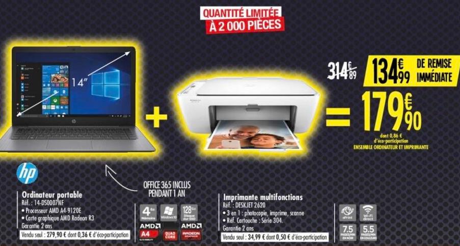 "PC Portable 14"" HP 14DS0007NF - AMD A4-9120, 4Go RAM, SSD 128, AMD Radeon R3 + Imprimante HPDeskjet 2620"