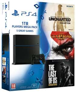 Pack Sony PS4 1 To (Dernier châssis) + God Of War + The Last Of Us + Uncharted Collection + 3 mois d'abonnement PS+