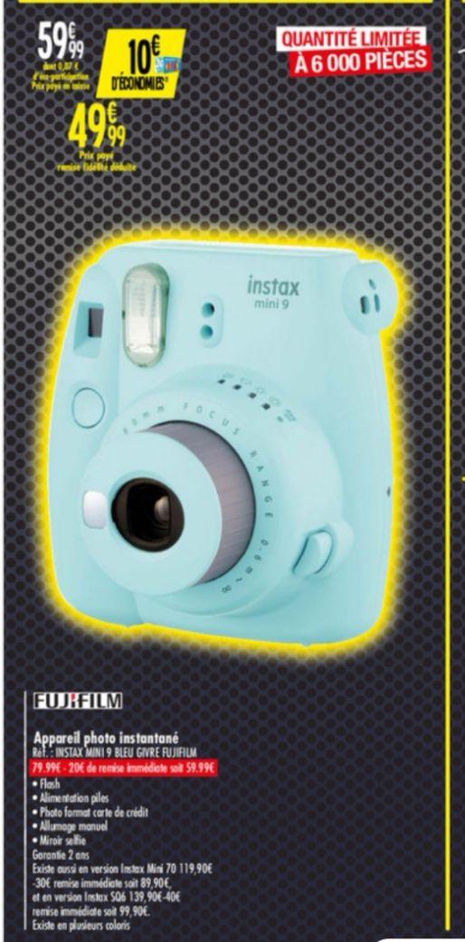 Appareil photo argentique instantané Fujifilm Instax Mini 9 (Via 10€ sur Carte Fidélité)