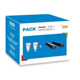 Pack Philips Hue : 2 Lampes Play + 2 Ampoules White & Color E27 - Blanc et Noir