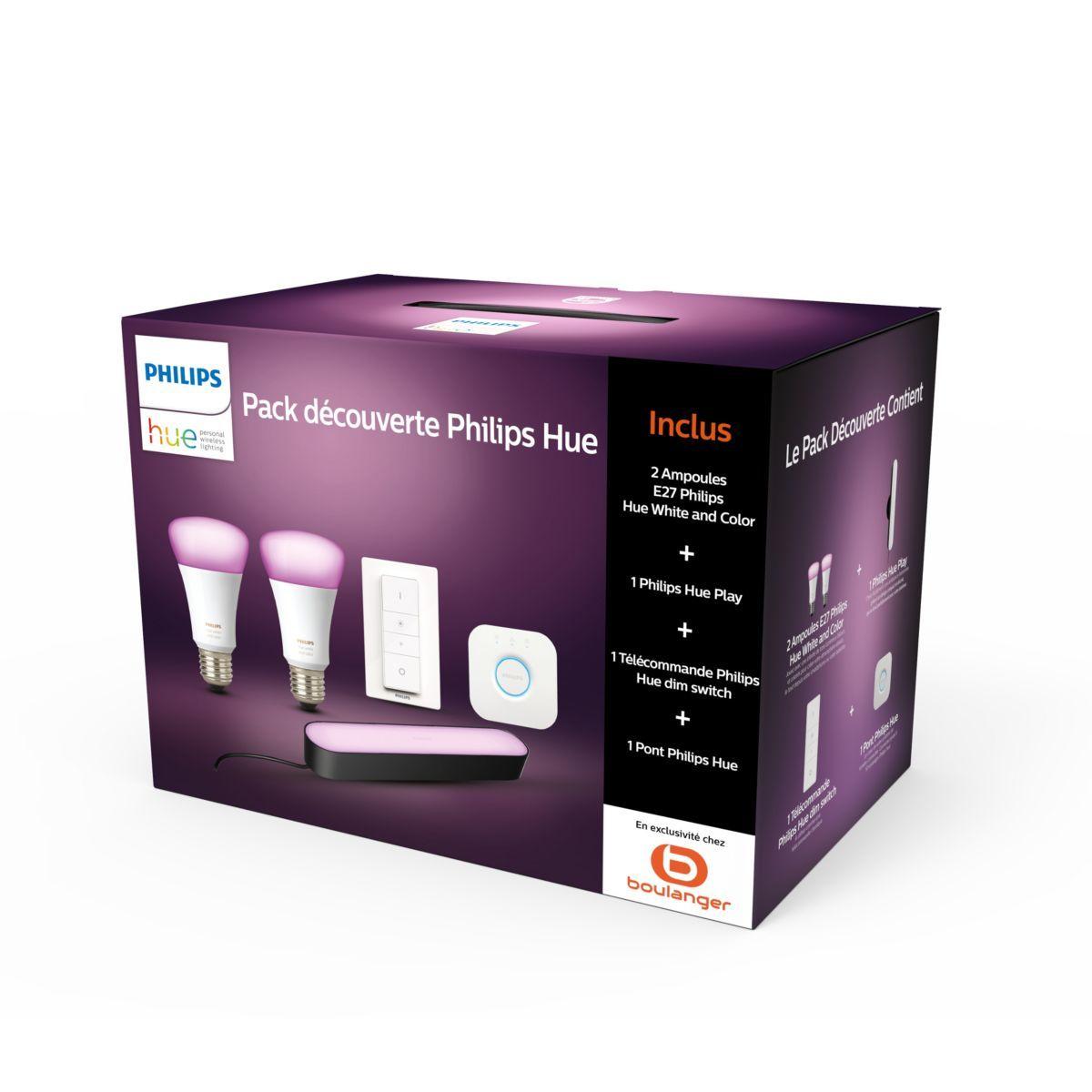 Pack démarrage Philips Hue : 2 Ampoules E27 White & Color + Hue Play + Dim Switch + Pont (+ 24€ en SuperPoints)