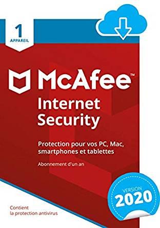 Jusqu'à 75% de réduction sur logiciel de antivirus McAfee - Ex: License McAfee 2020, 1 Appareil (1 An)