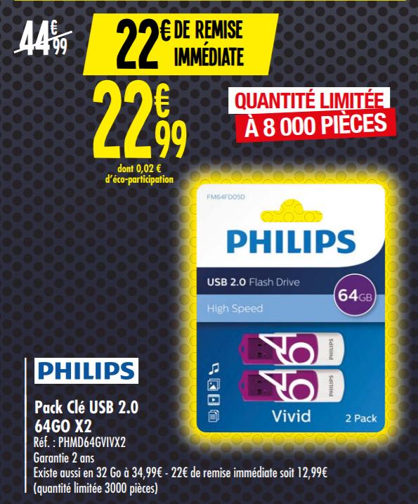 Pack de 2 Clé USB 2.0 Phillips - 64 Go