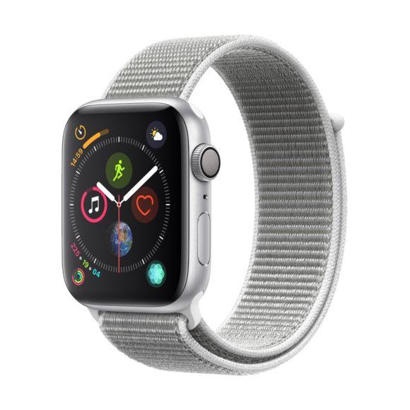 Montre connectée Apple Watch Series 4 - 44mm, Alu Argent / Boucle Sport Coquillage (vendeur tiers)