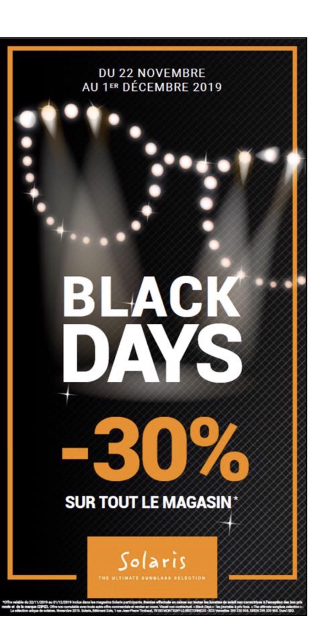 30% de réduction sur tout le magasin (Hors exceptions) - Solaris