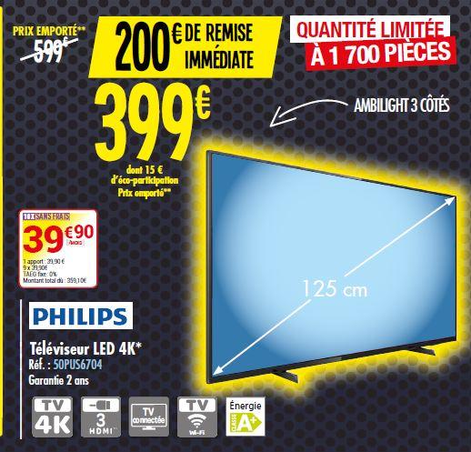 """TV 50"""" Philips 50PUS6704 - 4K UHD, Ambilight"""