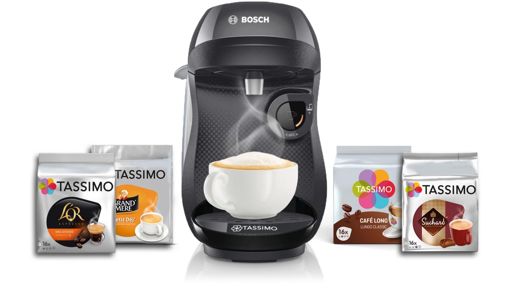Machine à capsules Tassimo Bosch Happy TAS1002 + 4 paquets de T-Discs
