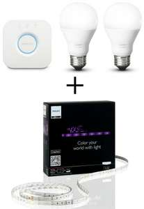 Kit Philips starter Hue (pont + 2 ampoules blanches) + bande LED Philips Lightstrip