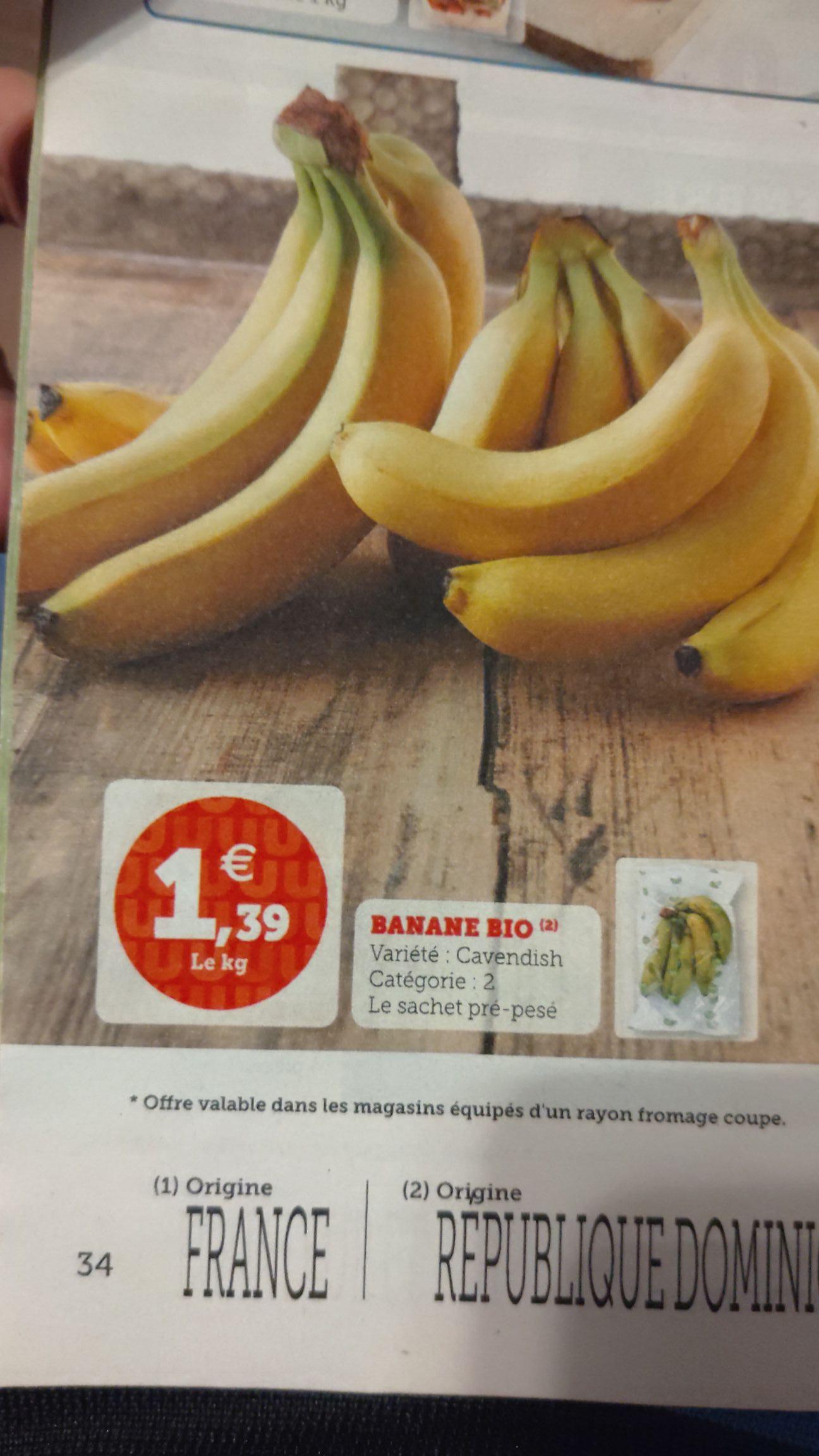 Bananes Bio Cavendish - Catégorie 2, 1 kg