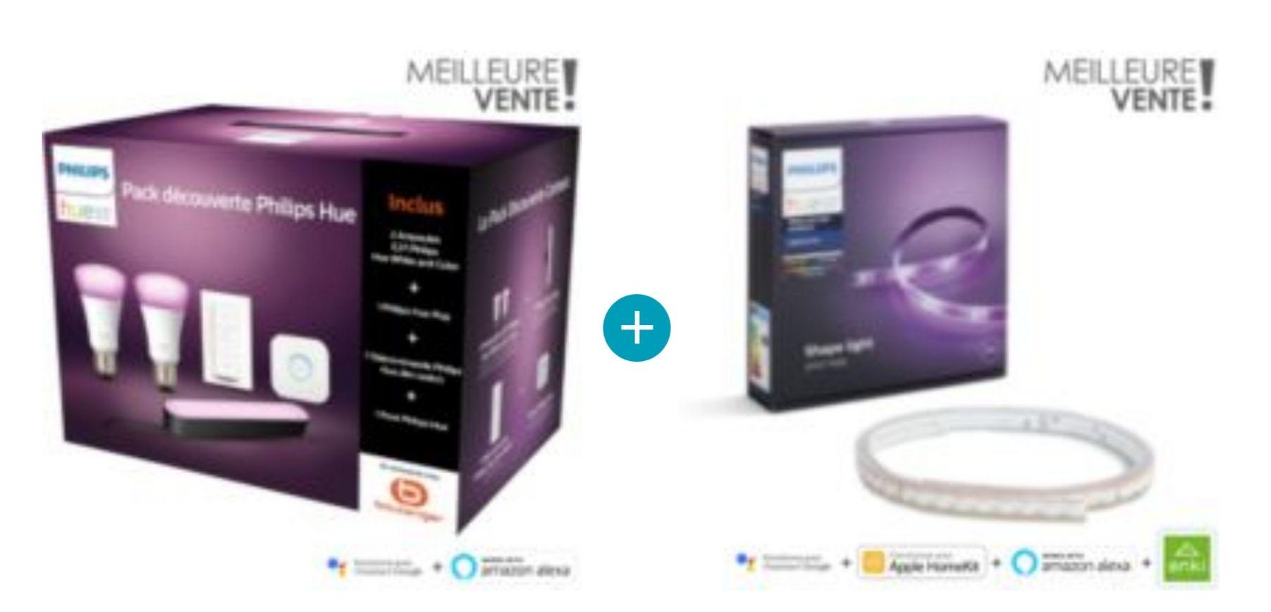 Pack de découverte Philips Hue play + bandeau led Lightstrip plus (2m). 2 ampoules w/c+pont+1 hue play+1 télécommande+bandeau led 2 mètres