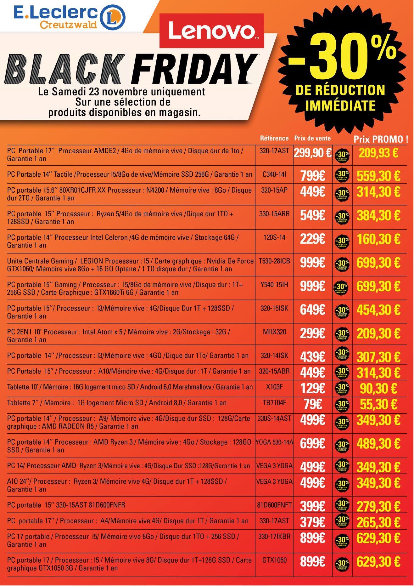 """Sélection d'articles en promotion - Ex : PC Portable 15.6"""" Lenovo Y540-15IRH (i5-9300H, GTX 1660 Ti, 8 Go RAM, 1 To HDD + 256 Go SSD)"""