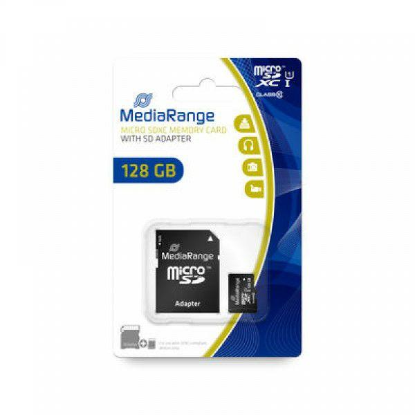 Carte micro SDXC MediaRange UHS I, Class 10, 80 Mo/s - 128 Go + adaptateur SD/SDHC (Frais de port inclus)