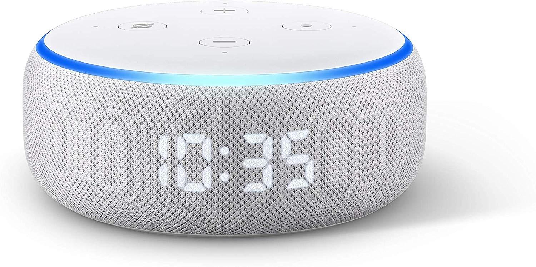Enceinte Connectée Echo Dot 3 (3ème génération) avec Horloge (Tissu sable)