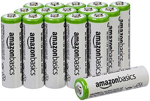 Lot de 16 piles rechargeable AmazonBasics Ni-MH Type AA 2000 mAh (20,13 avec abonnement résiliable)