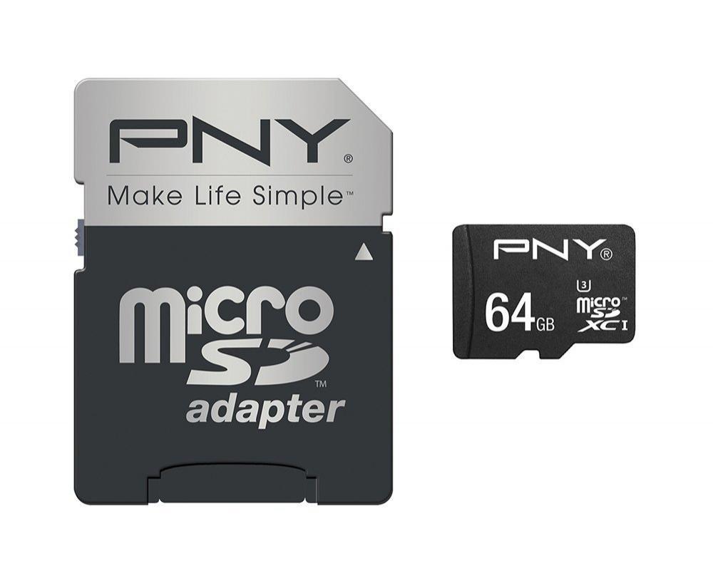 Carte microSDXC PNY Turbo Performance U3 (jusqu'à 80 Mo/s) - 64 Go avec adaptateur