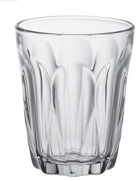 """6 gobelets Duralex """"Provence"""" - verre trempé,transparent, 9 cl, Ø : 6 cm - H : 7 cm"""